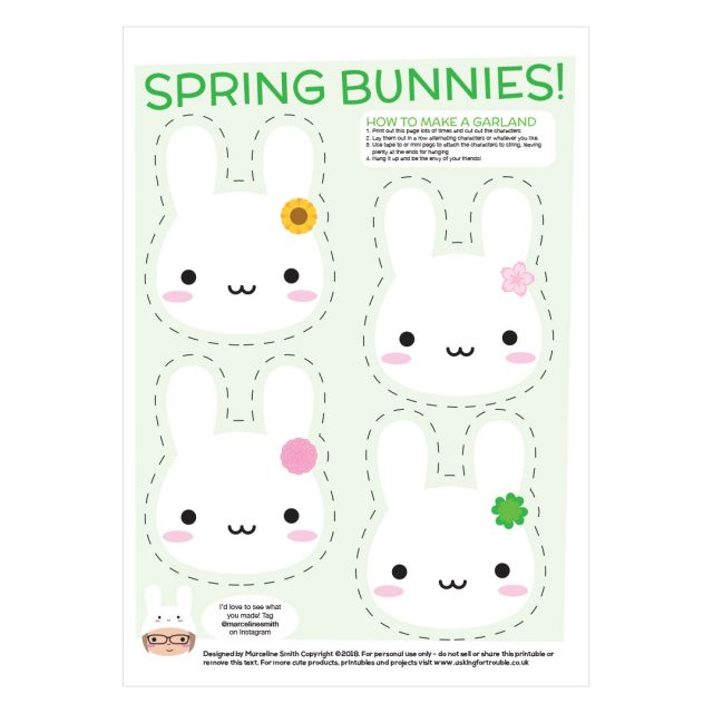 Spring Bunnies Printable Garland
