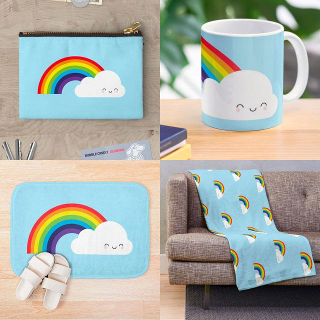 kawaii rainbow at Society6, Redbubble & Zazzle