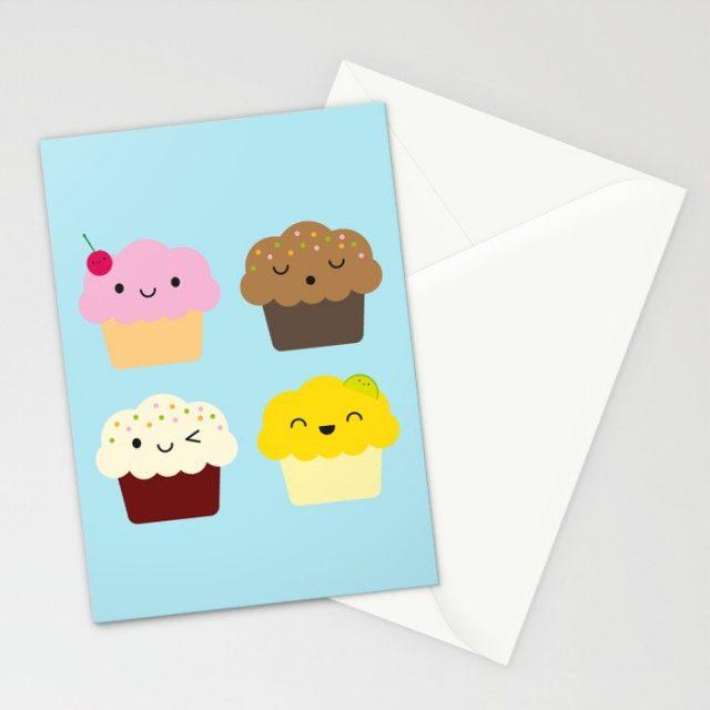 kawaii cupcakes card