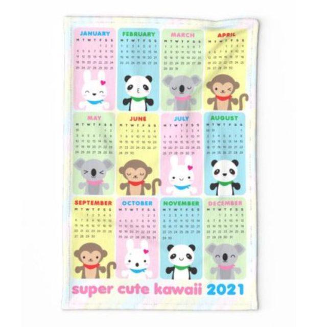 super cute kawaii 2021 tea towel calendar