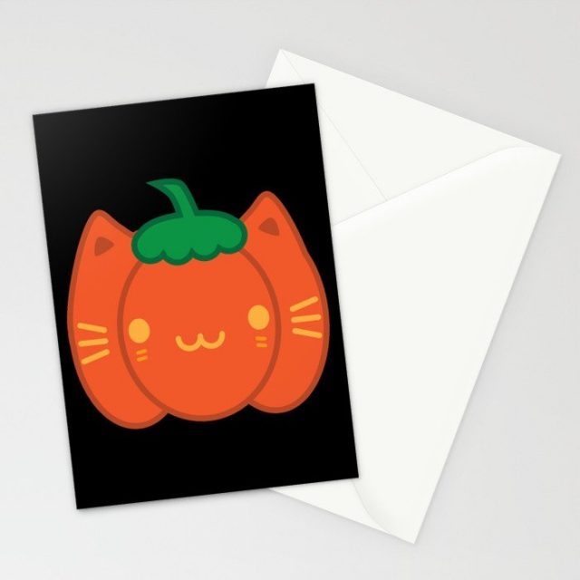 pumpkin cat kawaii Halloween card