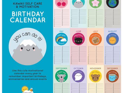 kawaii birthday calendar