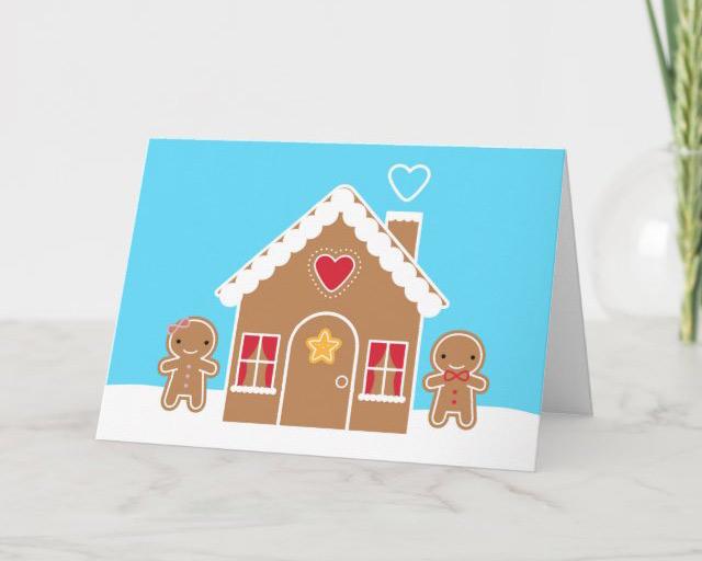 kawaii gingerbread house card
