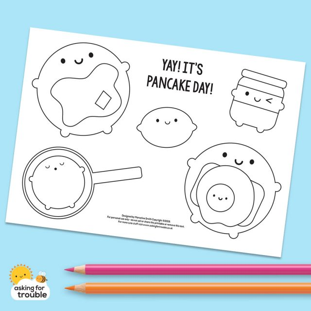pancake day colouring page