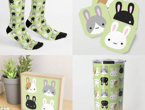 kawaii spring bunnies