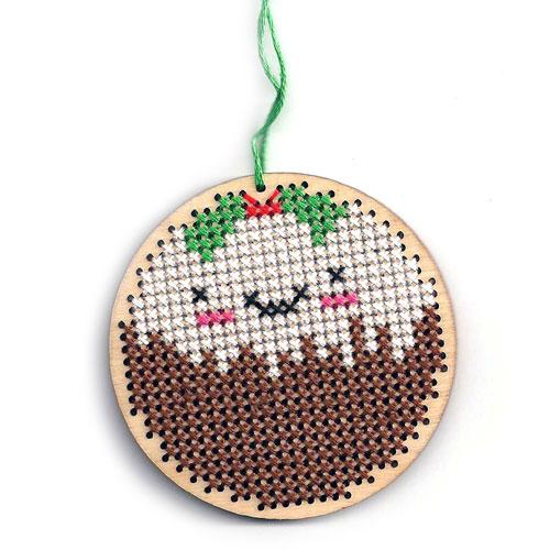 kawaii christmas pudding ornament