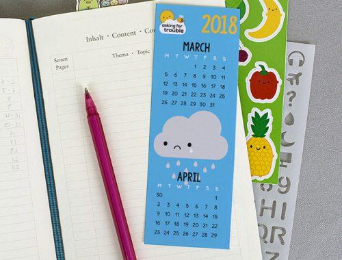free calendar bookmark 2018