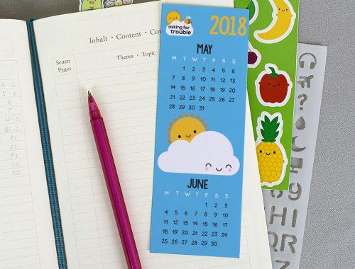 free printable calendar bookmark