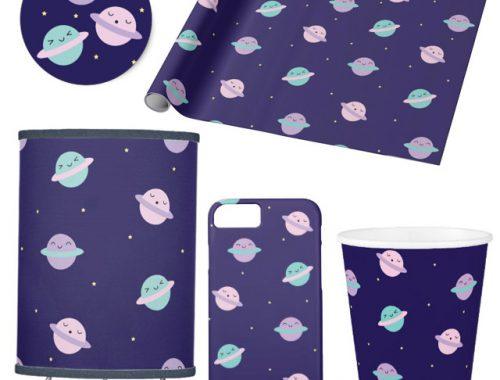 kawaii pastel planets pattern zazzle