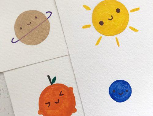 kawaii painted postcards