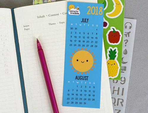 free printable calendar bookmark 2018