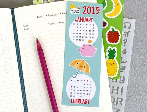 2019 calendar printable bookmark