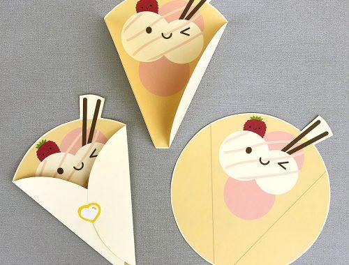 kawaii Crepe folded notecard