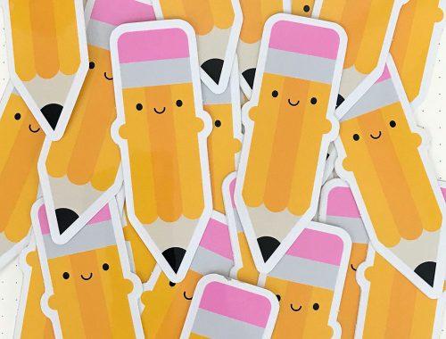 happy pencils kawaii stickers