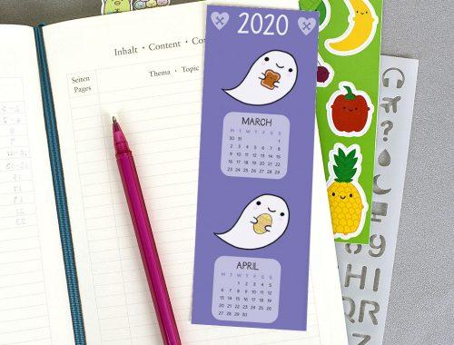 printable 2020 calendar bookmark