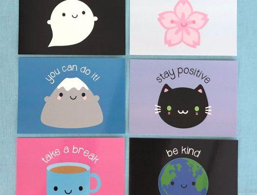 kawaii motivation postcards