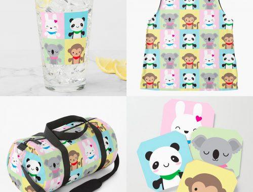 super cute kawaii animals on Society6, Redbubble, TeePublic & Zazzle