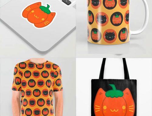 pumpkin cat kawaii Halloween