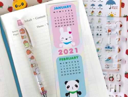 2021 Calendar Printable Bookmarks