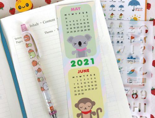 printable 2021 calendar bookmark